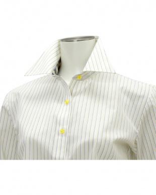 イエロー系 七分袖 形態安定 レディースシャツ レギュラー衿 白×イエロー、ブルーストライプを見る