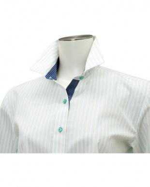 グリーン系 七分袖 形態安定 レディースシャツ ワイド衿 白×グリーンストライプを見る