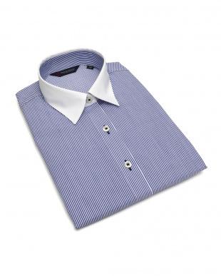 ブルー系 七分袖 形態安定 レディース ウィメンズシャツ クレリック レギュラー衿 白×ブルーストライプを見る