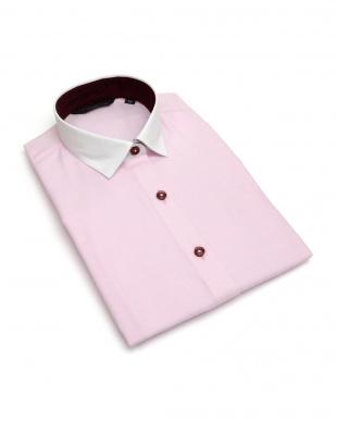 ピンク系 レディース ウィメンズシャツ 七分袖 形態安定 クレリック ワイド衿 ピンク×ストライプ織柄を見る