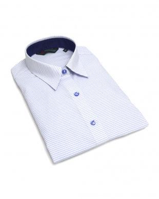 ブルー系 レディース ウィメンズシャツ 七分袖 形態安定 レギュラー衿 白×ブルー、ピンク刺子風柄を見る