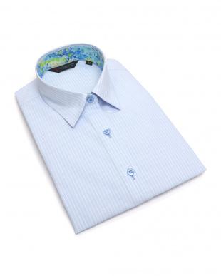 ブルー系 七分袖 形態安定 レディース ウィメンズシャツ レギュラー衿 サックス×白ストライプ(透け防止)を見る