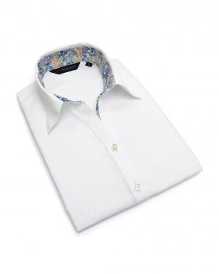 ホワイト系 七分袖 形態安定 レディース ウィメンズシャツ スキッパー衿 白×ストライプ織柄(透け防止)を見る