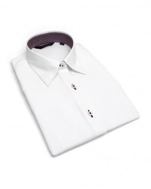 ホワイト系 レディース ウィメンズシャツ 七分袖 形態安定 レギュラー衿 白×ヘリンボーン織柄(透け防止)を見る