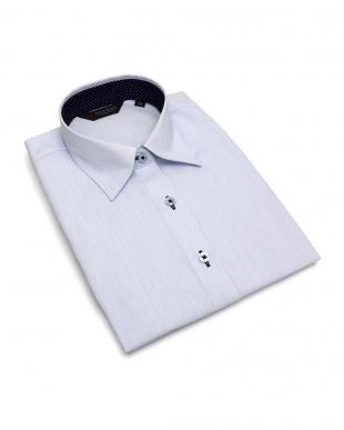 ブルー系 七分袖 形態安定 レディース ウィメンズシャツ レギュラー衿 サックス×ストライプ柄(透け防止)を見る