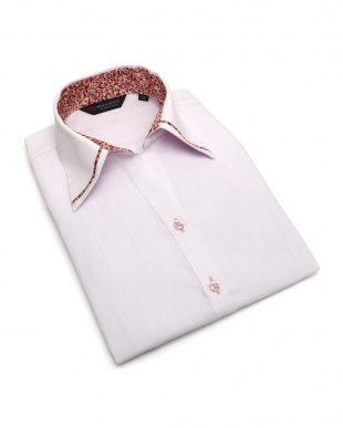 ピンク系 七分袖 形態安定 レディース ウィメンズシャツ パイピング風 マイター スキッパー衿 ピンク×ストライプ織柄(透け防止)を見る