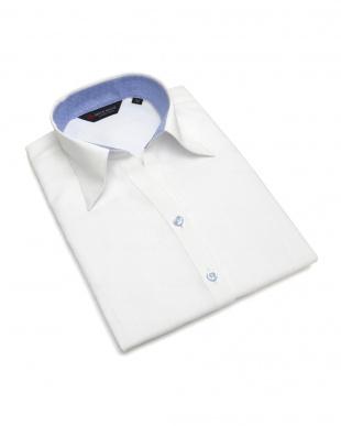 ホワイト系 七分袖 形態安定 レディース ウィメンズシャツ スキッパー衿 白×織柄(透け防止)を見る
