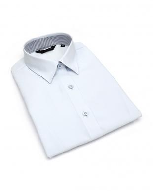 ブルー系 レディース ウィメンズシャツ 七分袖 形態安定 レギュラー衿 サックス×織柄を見る