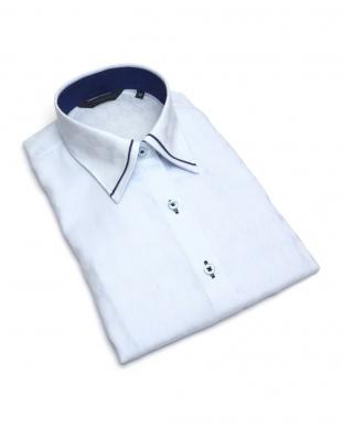 ブルー系 レディース ウィメンズシャツ 七分袖 形態安定 パイピング風 マイター レギュラー衿 綿100% サックス×ダイヤチェック織柄を見る