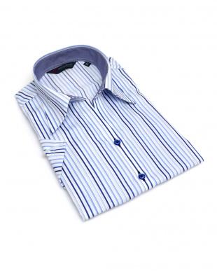 ブルー系 レディース ウィメンズシャツ 半袖 形態安定 スキッパー衿 白×ブルー系グラデーションストライプを見る