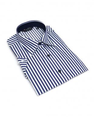 ブルー系 レディース ウィメンズシャツ 半袖 形態安定 レギュラー衿 白×ブルーストライプを見る