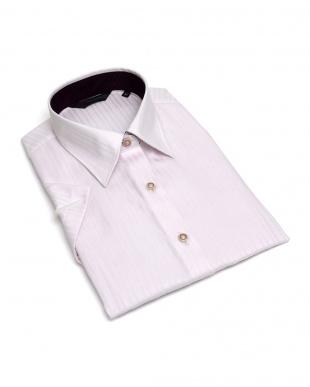 ピンク系 レディース ウィメンズシャツ 半袖 形態安定 レギュラー衿 綿100% ピンク×ストライプ織柄を見る