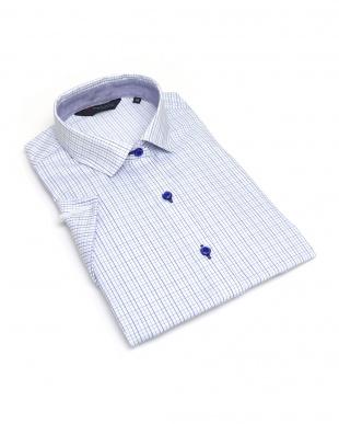 ブルー系 レディース ウィメンズシャツ 半袖 形態安定 ワイド衿 白×ブルー、グレーチェックを見る