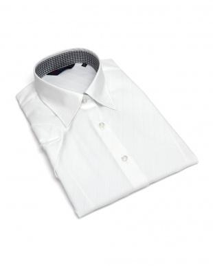 ホワイト系 レディース ウィメンズシャツ 半袖 形態安定 レギュラー衿 綿100% 白×斜めストライプ織柄を見る