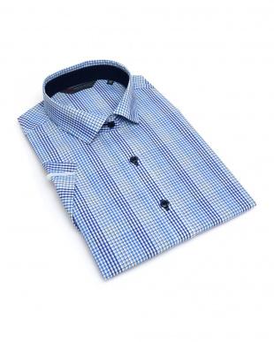 ブルー系 レディース ウィメンズシャツ 半袖 形態安定 ワイド衿 白×ブルーチェックを見る
