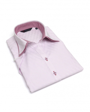 ピンク系 レディース ウィメンズシャツ 半袖 形態安定 スキッパー ダブル衿 綿100% ピンク×ダイヤチェック織柄を見る
