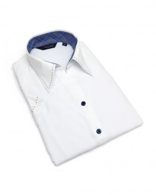 ホワイト系 レディース ウィメンズシャツ 半袖 インナー付 形態安定 スキッパー衿 白×チェック織柄を見る