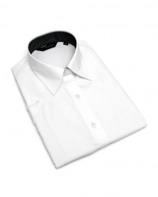 ホワイト系 レディース ウィメンズシャツ 半袖 インナー付 形態安定 レギュラー衿 白×チェック織柄を見る