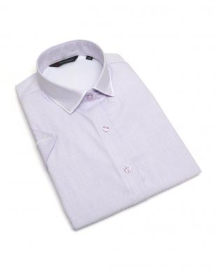 パープル系 レディース ウィメンズシャツ 半袖 インナー付 形態安定 パイピング風 ワイド衿 白×パープルストライプを見る