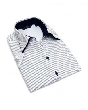 ブルー系 レディース ウィメンズシャツ 半袖 インナー付 形態安定 スキッパー ダブル衿 白×ネイビーストライプを見る