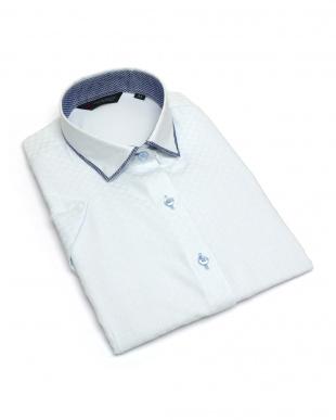 ブルー系 レディース ウィメンズシャツ 半袖 インナー付 形態安定 パイピング風 ワイド衿 サックス×市松格子織柄、ストライプ柄を見る