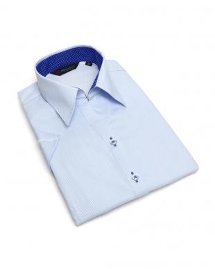 ブルー系 レディース ウィメンズシャツ 半袖 インナー付 形態安定 スキッパー衿 白×ブルーストライプを見る