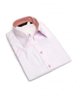 ピンク系 レディース ウィメンズシャツ 半袖 インナー付 形態安定 スキッパー衿 ピンク×ダイヤチェック織柄を見る