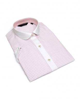 ピンク系 レディース ウィメンズシャツ 半袖 形態安定 クレリック ラウンド衿 白×ピンクチェック(透け防止)を見る