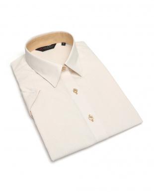 イエロー系 レディース ウィメンズシャツ 半袖 形態安定 レギュラー衿 オレンジ×白織柄(透け防止)を見る