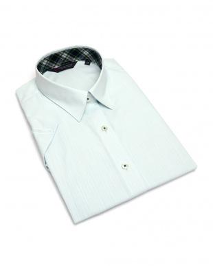 グリーン系 レディース ウィメンズシャツ 半袖 形態安定 レギュラー衿 ライトグリーン×ストライプ織柄(透け防止)を見る