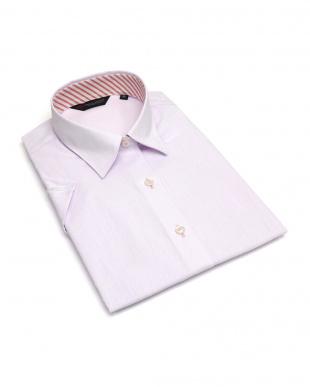 ピンク系 レディース ウィメンズシャツ 半袖 形態安定 レギュラー衿 パープル×斜めストライプ織柄(透け防止)を見る