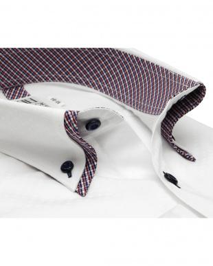 ホワイト系 スリム 長袖 メッシュインナー ワイシャツ 形態安定 ボタンダウン ダブルカラー 白×スクエアドット織柄を見る