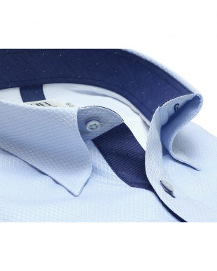 ブルー系 ワイシャツ 長袖 形態安定 フィットインナー スナップダウン サックス×ダイヤチェック織柄 スリムを見る