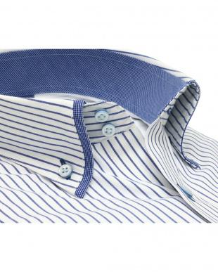 ブルー系 ワイシャツ 長袖 形態安定 フィットインナー マイター ドゥエボットーニ ボタンダウン 白×ブルーストライプ スリムを見る