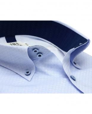 ブルー系 スリム 長袖 メッシュインナー ワイシャツ 形態安定 ドゥエボットーニ ボタンダウン サックス×市松格子織柄を見る