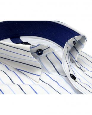 ブルー系 ワイシャツ 長袖 形態安定 メッシュインナー スナップダウン 白×ブルーストライプ 標準体を見る