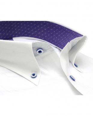 ホワイト系 ワイシャツ 長袖 形態安定 フィットインナー ボタンダウン 白×ストライプ織柄 袖の長い・大きいサイズを見る