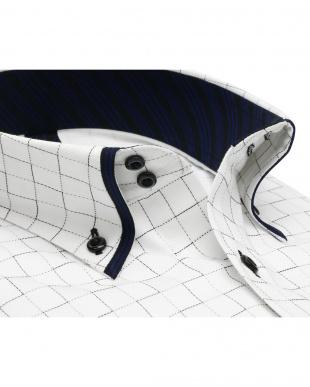 グレー系 ワイシャツ 長袖 形態安定 フィットインナー マイター ドゥエボットーニ ボタンダウン 白×グレーチェック 袖の長い・大きいサイズを見る