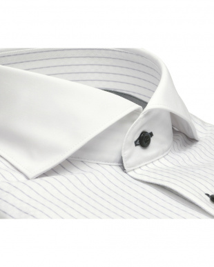 グレー系 ワイシャツ 長袖 形態安定 フィットインナー クレリック ホリゾンタル ワイド 白×グレーストライプ 袖の長い・大きいサイズを見る