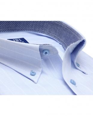 ブルー系 ワイシャツ 半袖 形態安定 ボタンダウン サックス×ストライプ織柄 新体型を見る