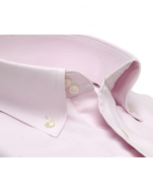 ピンク系 ワイシャツ 長袖 形態安定 Wガーゼ ドゥエボットーニ ボタンダウン 綿100% ピンク×無地調織柄 スリムを見る