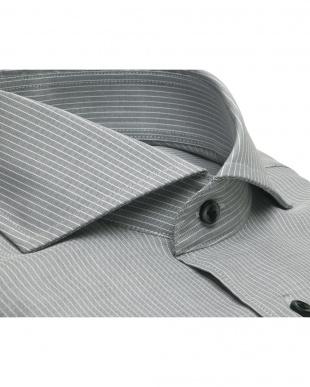 グレー系 ワイシャツ 長袖 形態安定 Wガーゼ ホリゾンタル ワイド 綿100% グレー×白ストライプ 標準体を見る