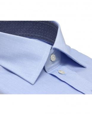 ブルー系 ワイシャツ 長袖 形態安定 ワイド 綿100% ブルー×小紋織柄 標準体を見る