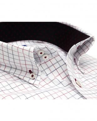 ピンク系 ワイシャツ 半袖 形態安定 ドゥエボットーニ ボタンダウン 白×エンジ、ブルーチェック 新体型を見る