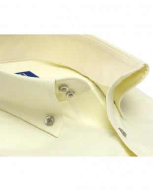 イエロー系 ワイシャツ 半袖 形態安定 ドゥエボットーニ ボタンダウン クリームイエロー×ドット織柄 新体型を見る