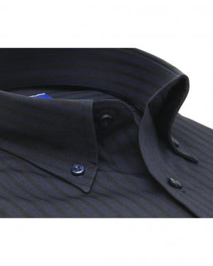 ブルー系 ワイシャツ 半袖 形態安定 ボタンダウン ネイビー×ストライプ織柄 新体型を見る