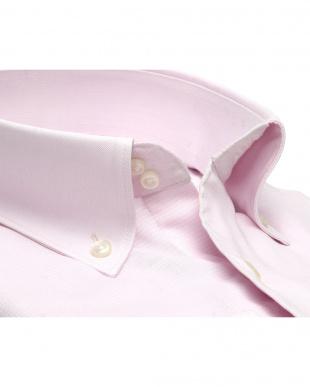 ピンク系 ワイシャツ 長袖 形態安定 Wガーゼ ドゥエボットーニ ボタンダウン 綿100% ピンク×無地調織柄 袖の長い・大きいサイズを見る