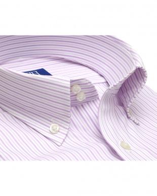 ピンク系 ワイシャツ 半袖 形態安定 ドゥエボットーニ ボタンダウン 白×パープルストライプ 新体型を見る