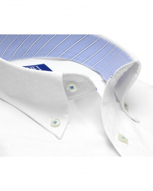 ホワイト系 ワイシャツ 半袖 形態安定 ボタンダウン 白×チェック織柄(透け防止) 新体型を見る