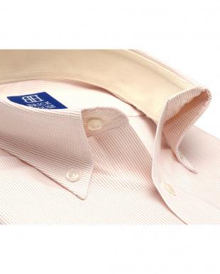 ベージュ ワイシャツ 半袖 形態安定  ボタンダウン 白×オレンジストライプ 新体型を見る